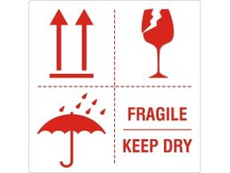 Kuljetustarra fragile - keep dry - this side up